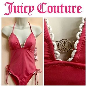 Juicy Couture Charm Pink Halter Maillot Swimsuit